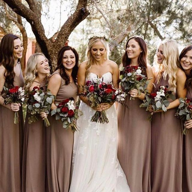 1d02947f6f2 Neutral bridesmaids dresses + moody florals we love ❤  mumuweddings