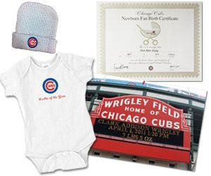 Chicago Cubs Newborn Fan Club, $45 for a onesie, cap, birth certificate, and photo of Baby's name on the marquee. Too cute! birth announcements sports, baseball birth announcements #baby #newborn