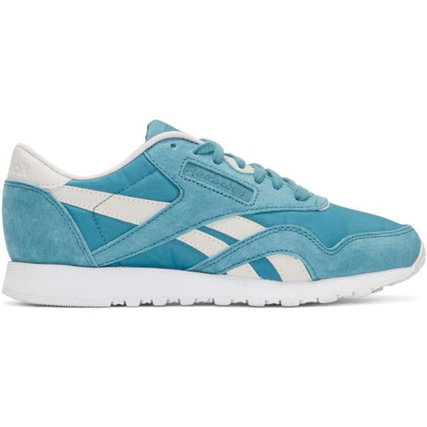 Reebok Classics Blue FACE Edition Kindness Classic Sneakers ($65) ❤ liked on Polyvore featuring shoes, sneakers, blue, low top, laced shoes, low profile sneakers, blue trainers and reebok sneakers