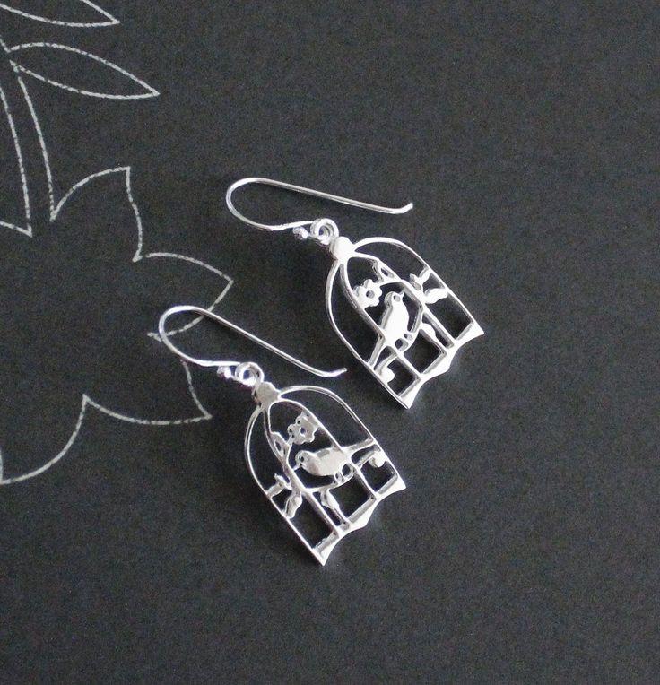 Sterling silver birdcage earrings.