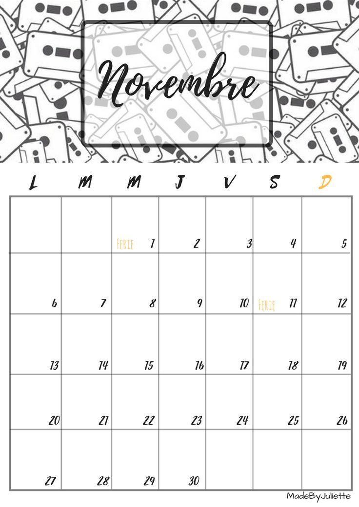 Calendrier - Novembre 2017 - Imprimes le calendrier pour customiser ton agenda! A VOIR : ma vidéo sur youtube