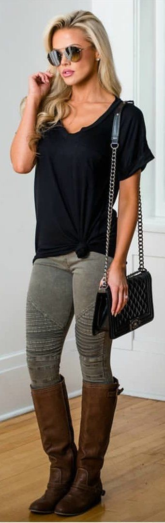 #winter #outfits black shirt, gray jeans, pair of brown mid-calf boots, and quilted black crossbody bag