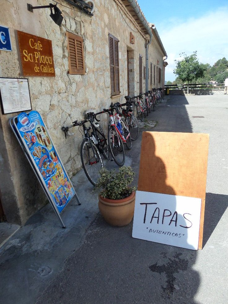 Bikers stop for a morning Tapas in Galilea, Mallorca, Spain