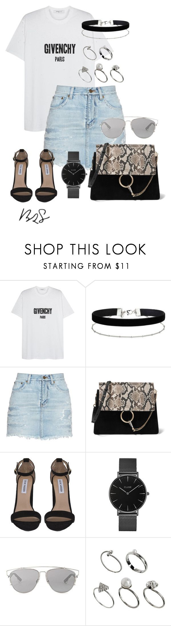 """""""#750"""" by blendingtwostyles ❤ liked on Polyvore featuring Givenchy, Miss Selfridge, Yves Saint Laurent, Chloé, Steve Madden, CLUSE, Christian Dior and ASOS"""