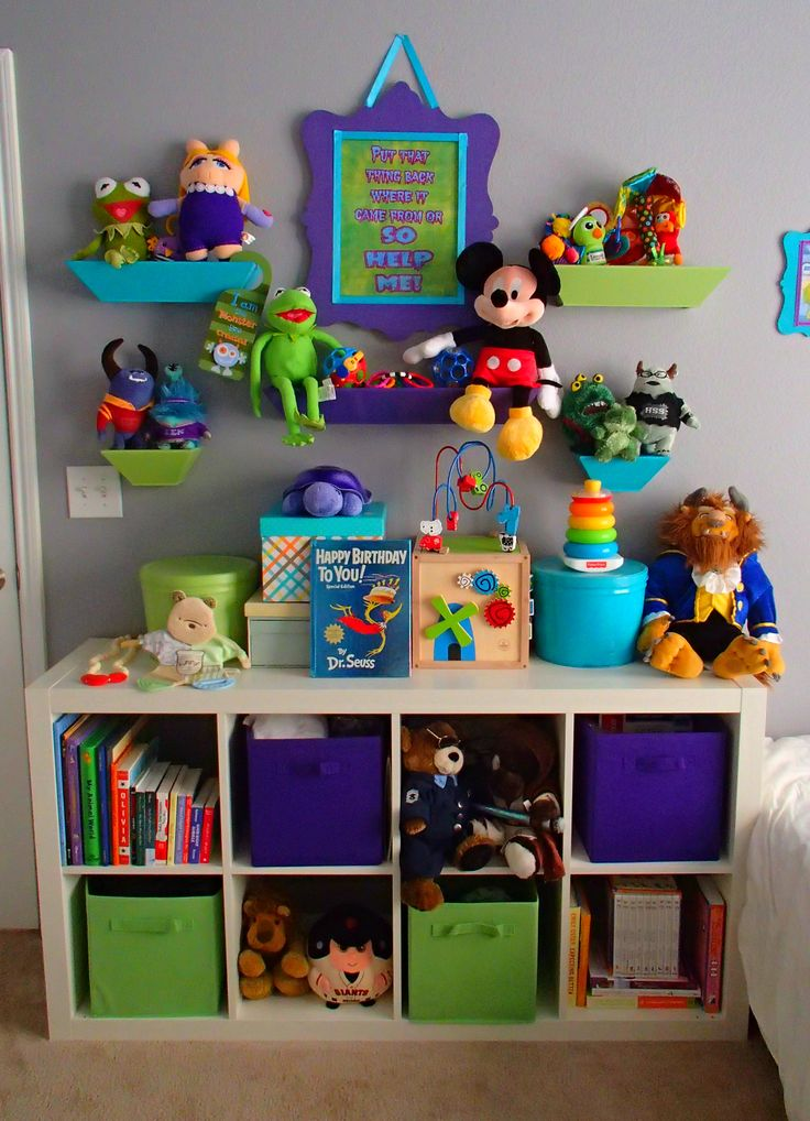 "My Monsters Inc Nursery - Toy area with ""Put that thing back where it came from or so help me!"" Mike Wazowski quote"
