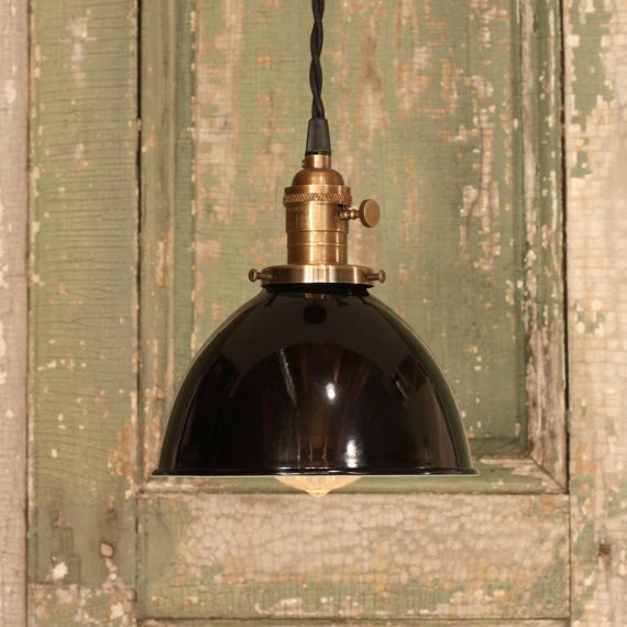 Industrial Lighting With Black Enamel Dome Shade and Reproduction Twisted Wire
