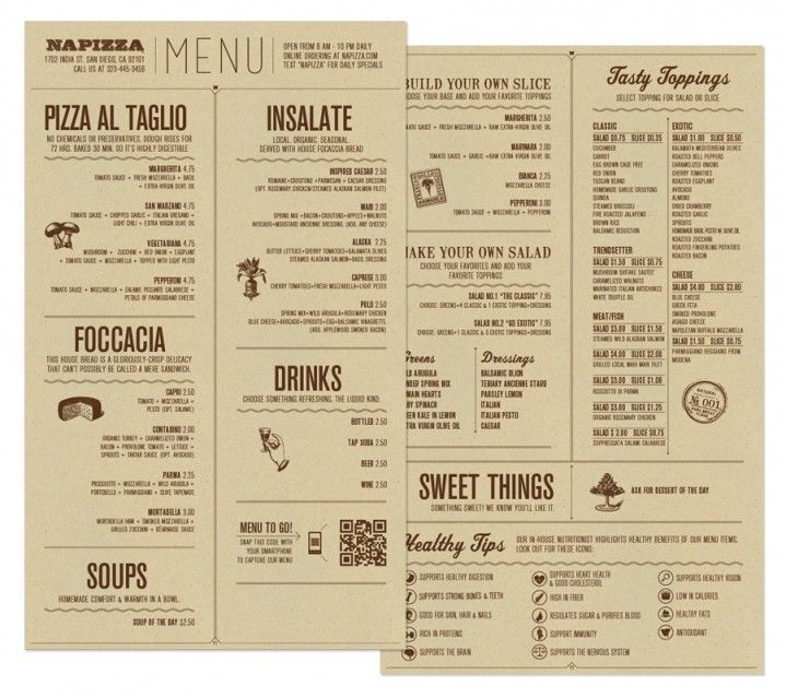 #menu #food Napizza food menu by Miller Creative via wearemiller.com. I Love this menu because it's eye catching and simple.