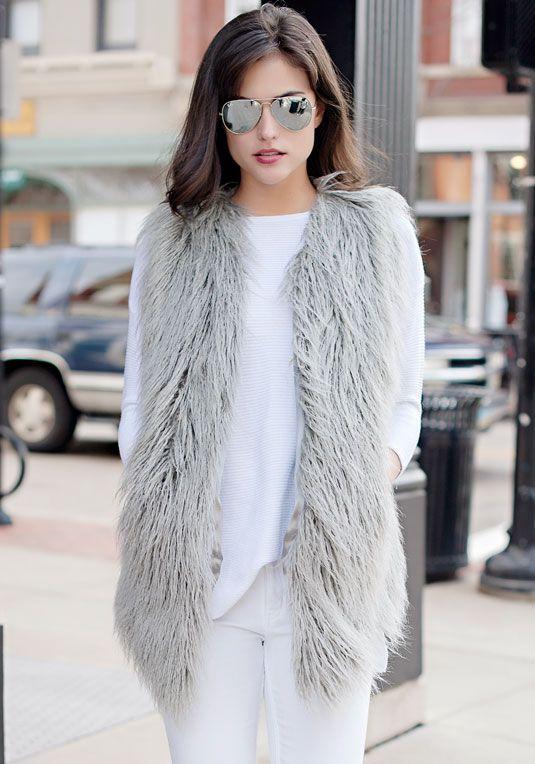 Grey Tibetan Lamb Faux Fur Vest