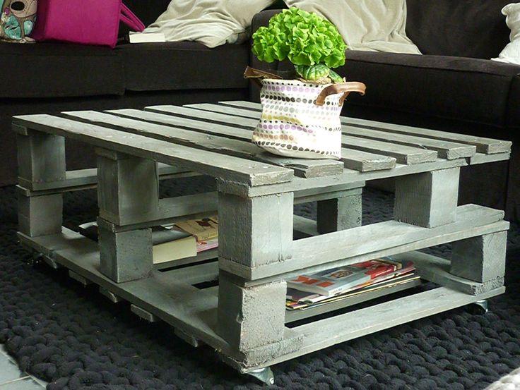 Table basse réalisée avec des palettes.