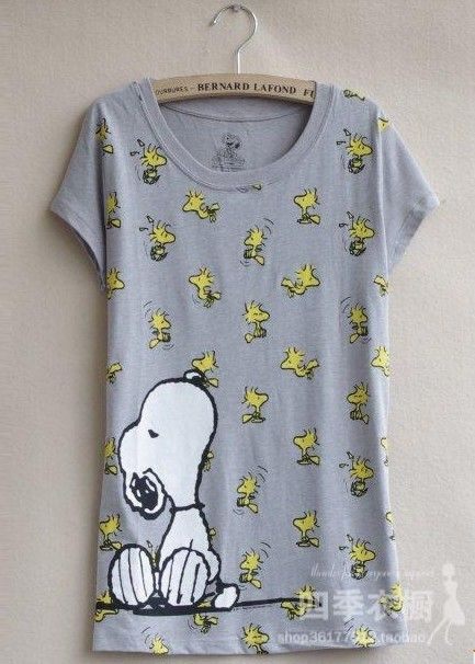 Snoopy t shirt 2013  women's t-shirt plus size available cartoon gray thin short-sleeved t-shirt $13.70