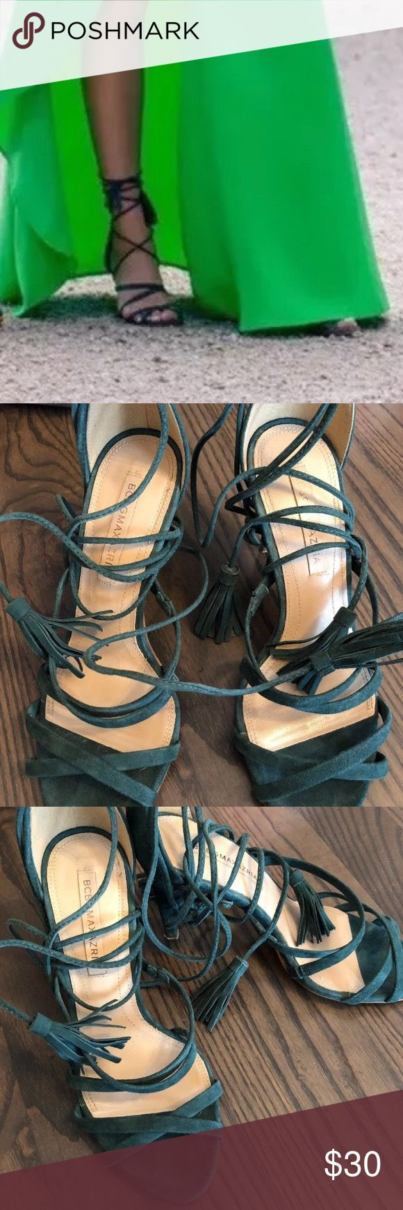 Bcbg shoes size 6.5 Gently worn for a photo shoot.  Bcbg summer shoe, size 6.5, green.  All sales final, ask all questions in advance. Payment due within 3 days. Thanks for looking. BCBG Shoes Heels
