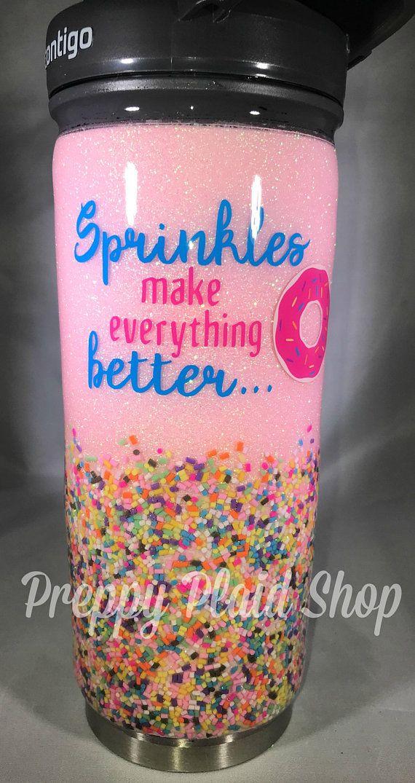 Custom Glitter Tumbler All You Need is Love and a Donut glitter tumbler