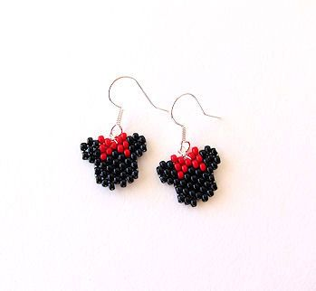 Beaded Minnie Mouse Earrings with Red Bow by MigotoChou on Etsy, $20.00