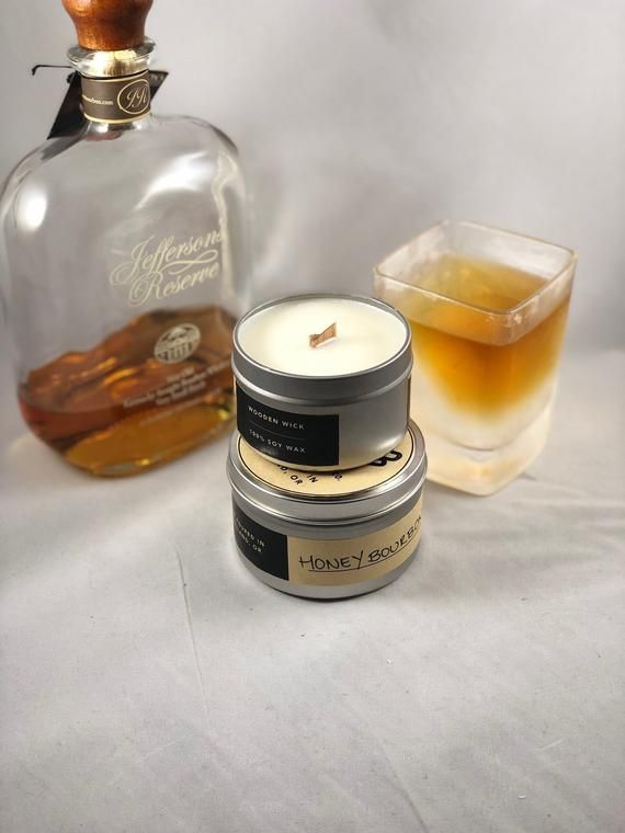 Honey Bourbon Wood Wick Handcrafted Soy Wax Candle Whiskey Gifts For Him Paraffin Free Natur Scented Soy Wax Soy Wax Candles Soy Wax Scented Candles