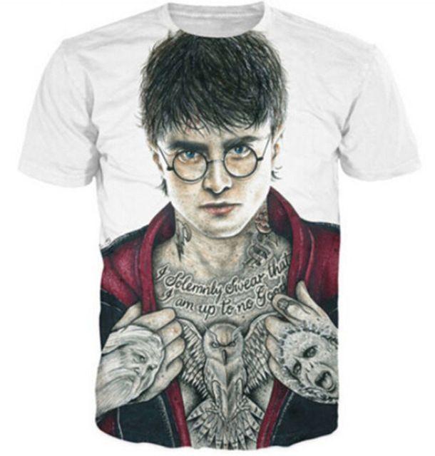 Mulheres Homens Moda Roupas Sumemr Estilo yeezy topos Com Tinta Harry Potter 3D impressão t-shirt Com Tinta Tatuagens Lkons Vibrante de manga Curta