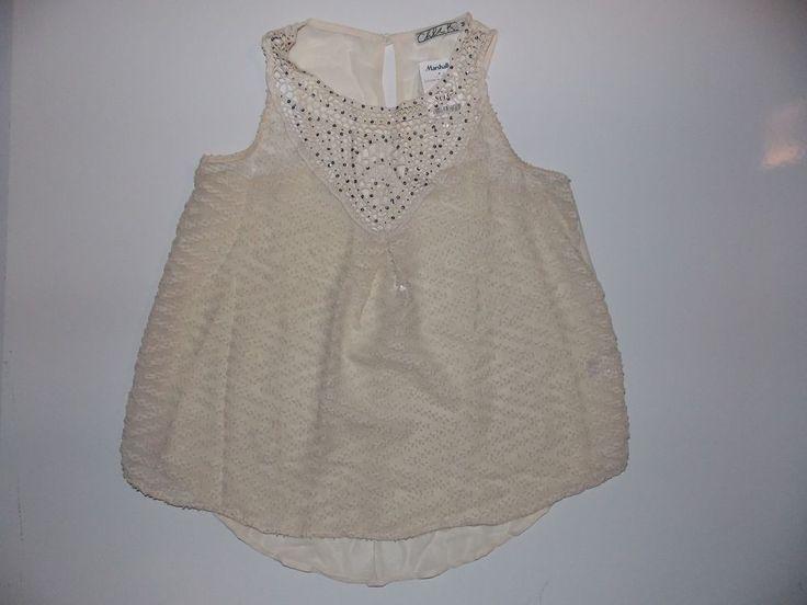 Chloe K women top sheer sleeveless blouse cream womens size m new  #ChloeK #Blouse #Casual