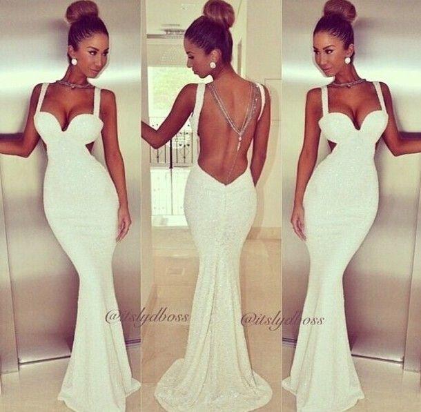 Sexy V Neck Off The Shoulder Sleeveless Backless White Polyester Mermaid Floor Length Dress