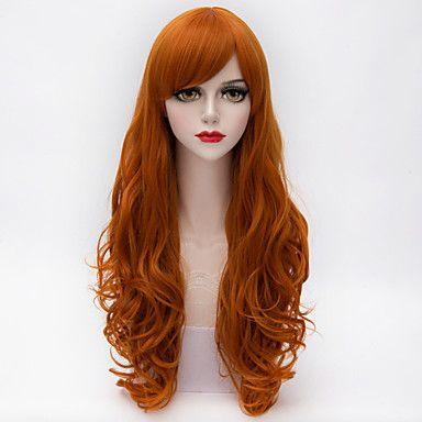 harajuku mode lång lös lockigt fullt bang hår Orange lutning syntetisk lolita parti kvinnor peruker 4131116 2016 – Kr.112