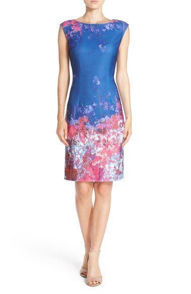 Adrianna Papell Floral Border Print Scuba Sheath Dress available at #Nordstrom