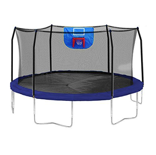 Skywalker Trampolines Jump N' Dunk Trampoline with Safety Enclosure and Basketball Hoop, Blue, 15-Feet - http://fitness-super-market.com/?product=skywalker-trampolines-jump-n-dunk-trampoline-with-safety-enclosure-and-basketball-hoop-blue-15-feet