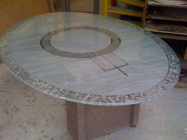 sandblasted carved glass table by france vitrail international. Black Bedroom Furniture Sets. Home Design Ideas