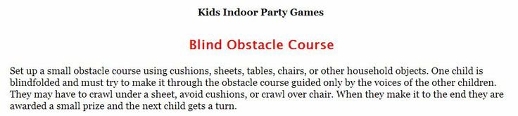 Kids Fun Zone: Activities and funBlind Obstacle Course game for kids. #kids #partygames #kidsactivities #kidsfungames