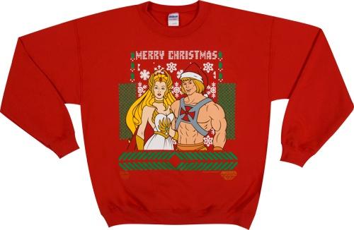 He-Man She-Ra Christmas Faux Sweater:  T-Shirt, Ugly Christmas Sweater, Jersey,  Tees Shirts, Christmas Sweaters, Shera Christmas, Heman, He Man She Ra, She Ra Christmas