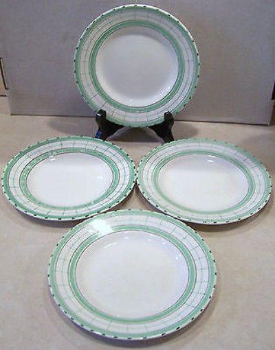 Vintage Art Deco British Anchor Cottage Green Side Plates x 4 (02/21/2014) 18cm across