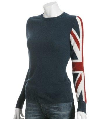 Cashmere sweater with Union Jack sleeve!
