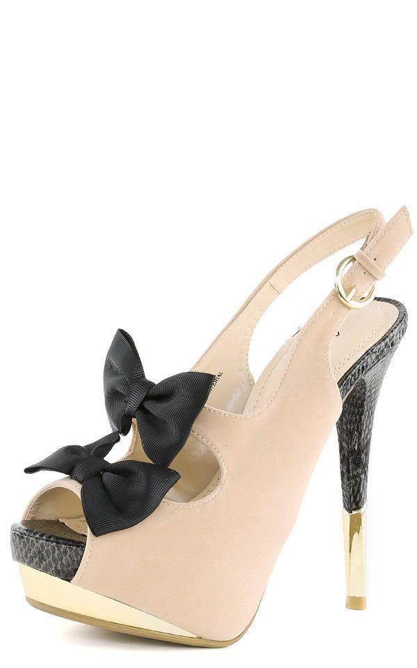 Anne Michelle Barbie05 Bow Tie Cutout Platform High Heels NUDE Women's Pumps NEW #AnneMichelle #PumpsClassics