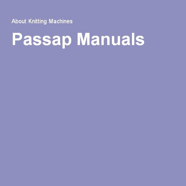 knitting machine manuals