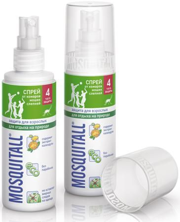 Защита для взрослых для отдыха на природе 100 мл  — 199р. ------ Спрей от комаров Mosquitall Защита для взрослых для отдыха на природе поможет защитить Вас и Ваших детей от укусов кровососущих насекомых различного вида: мокрецов, мошек, комаров, слепней, москитов и прочих. Средство можно наносить на тело и на одежду. В состав входит экстракт календулы, которая также защищает кожу. Средство имеет приятный свежий аромат, не оставляет жирных и других следов на одежде. Спрей действует до 4…