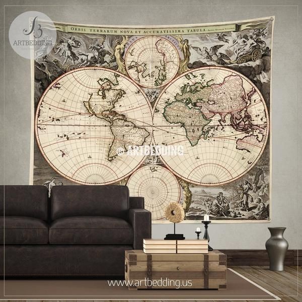Antique world map wall tapestry, vintage world map wall hanging, vintage old map wall decor, Steampunk print, vintage map interior home, vintage map decor
