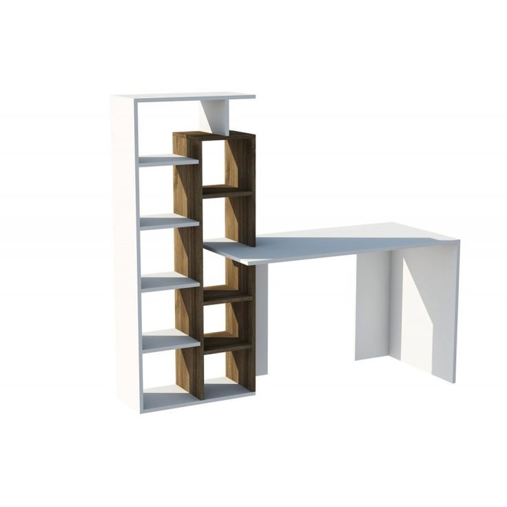 Office Poly with bookshelf white 60x150x148