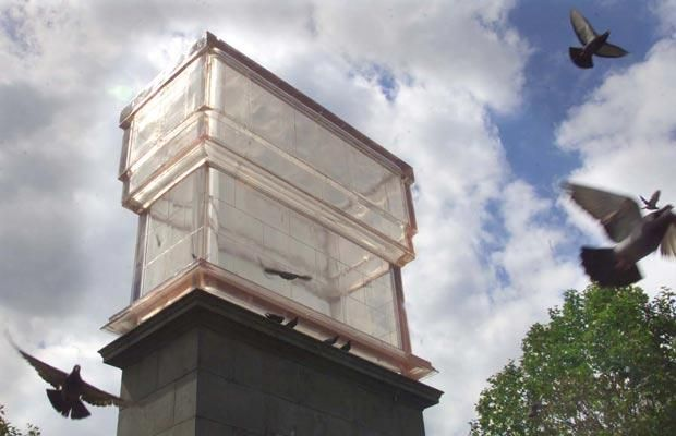 Monument  Rachel Whiteread, 2001    Transparent resin cast of the actual plinth, standing upside-down and 14ft high.
