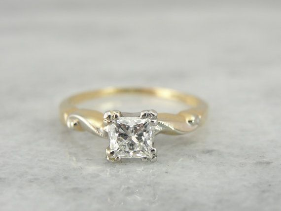 Vintage Retro Engagement Ring with New Princess Cut by MSJewelers