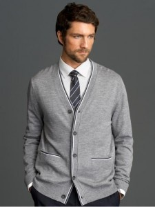 Mad Men® Collection extra-fine merino tipped cardigan Banana Republic