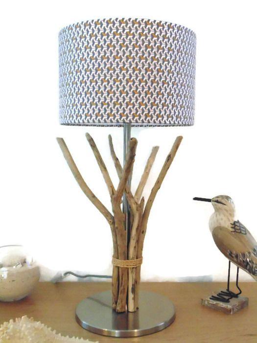 lampe en bois flotté - abat-jour cylindre 28cm -  modèle unique