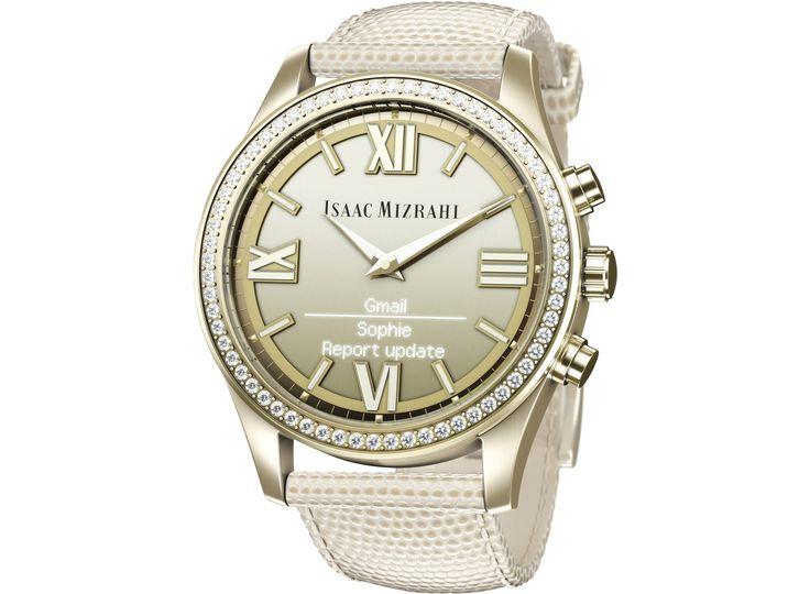 Isaac Mizrahi Gold Smartwatch Cream Lizard Strap - HP Store Canada