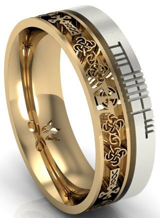 14k Two Tone Gold Celtic Cross with Ogham Script Wedding Ring Ogham script reads, 'Faith'. Handmade and hallmarked in Ireland.