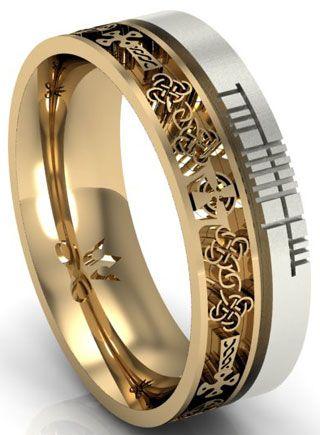 14k Two Tone Gold Celtic Cross with Ogham Script Wedding Ring Ogham script reads, \'Faith\'. Handmade and hallmarked in Ireland. repin & like please. Check out Noelito Flow music. #Noel. Thanks https://www.twitter.com/noelitoflow  https://www.youtube.com/user/Noelitoflow
