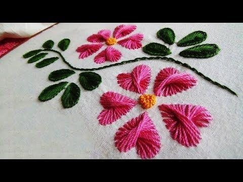 Hand Embroidery: Leaf embroidery (Polin knot, Herringbone