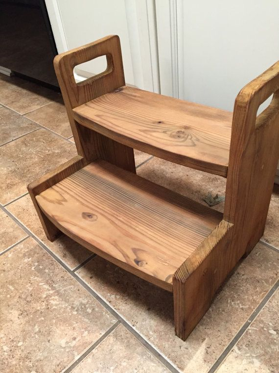 THIS STEP STOOL WILL HELP YOUR TODDLER REACH THE BATHROOM SINK TO BRUSH TEETH AND WASH HANDS! ********************************************************************************************************************************************************** HAND-CRAFTED OF SOLID WOOD, THIS 2-STEP STOOL IS STAINED WITH APPLE CIDER VINEGAR AND COFFEE GROUNDS! ALL NATURAL, WITH NO CHEMICALS…