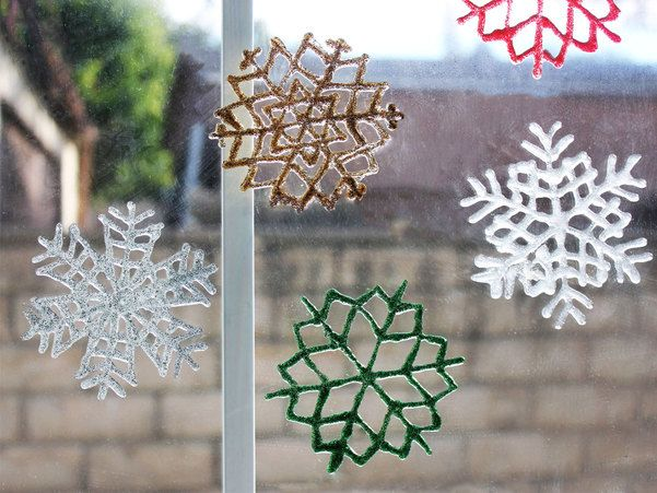 DIY Snowflake Window Clings with Free Printable Template