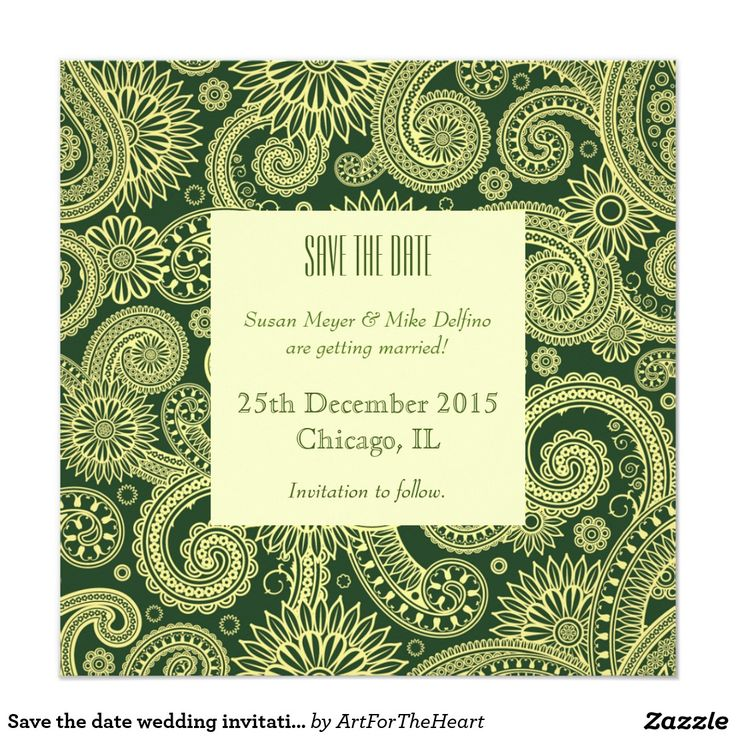 Save the date wedding invitation card green indian