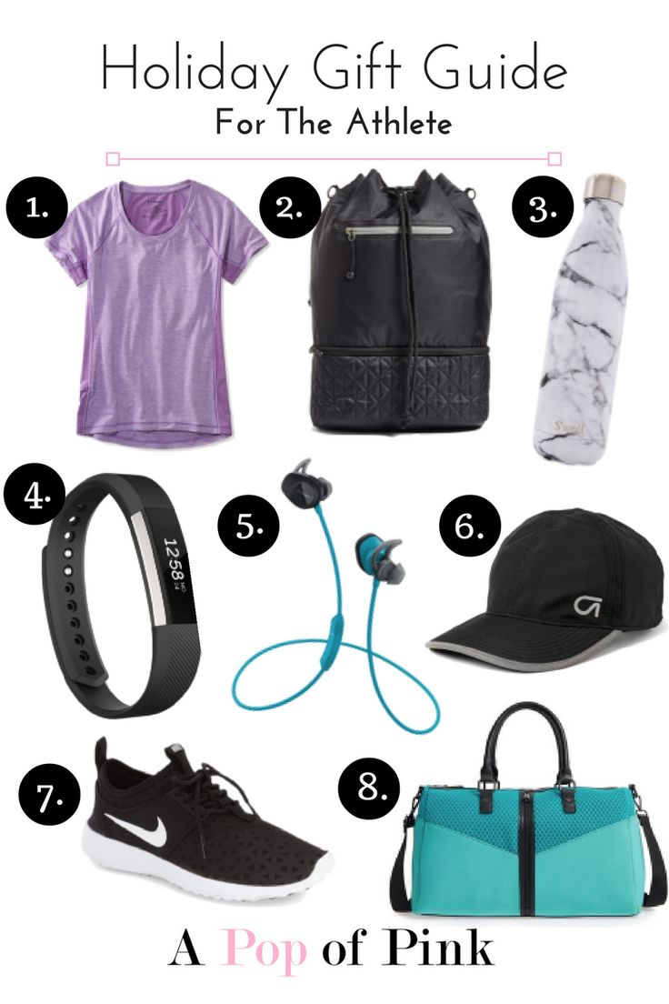 Gifts for the athlete and fitness fanatic. Shop items featured in the photo and more on A Pop of Pink.