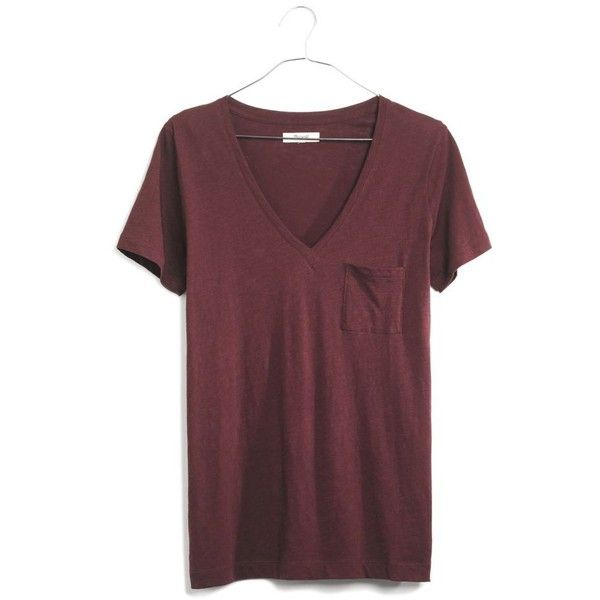 MADEWELL Whisper Cotton V-Neck Pocket Tee ($20) ❤ liked on Polyvore featuring tops, t-shirts, shirts, t shirt, chocolate raisin, v neck shirt, red v neck shirt, red v neck t shirt, v-neck shirts and red t shirt