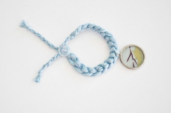 Mother's dayKnitted blue bracelet Alpaca metal and by zOOzART, $13.00