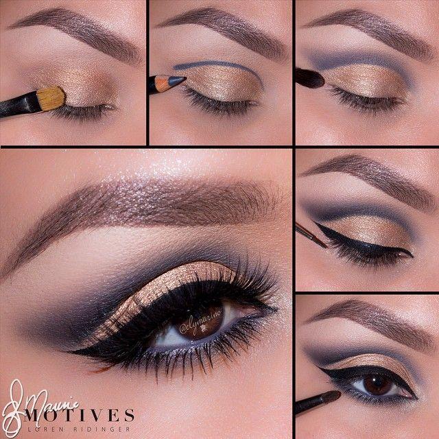 Gold and steel eye makeup #tutorial #maquiajem #evatornadoblog Сталь и золото - макияж глаз - урок