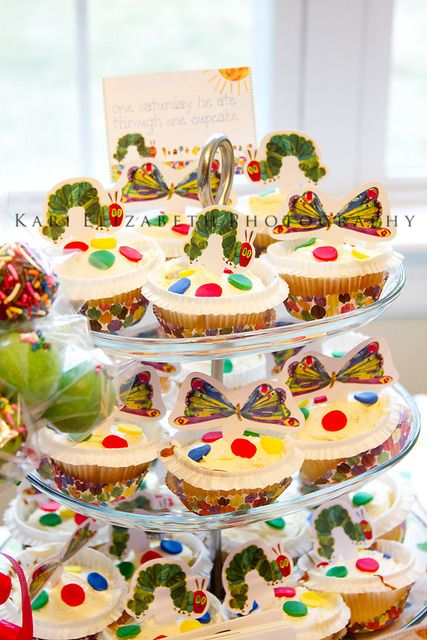 """Cupcakes Photo 1 of 13: The Very Hungry Caterpillar, by Eric Carle / Birthday """"Carsyn Grace's First Birthday"""" 